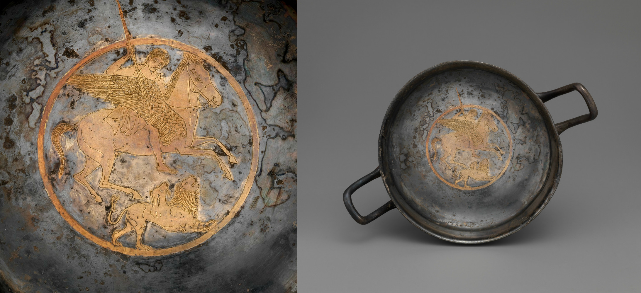 Gilt silver kylix with Bellerophon riding Pegasus and attacking the Chimaera, late 5th century BC, Greek
