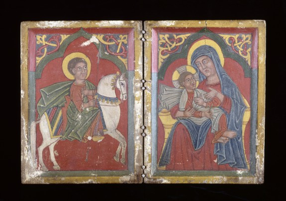Diptych Icon with Saint George, and Mary and the Infant Christ, early 15th century