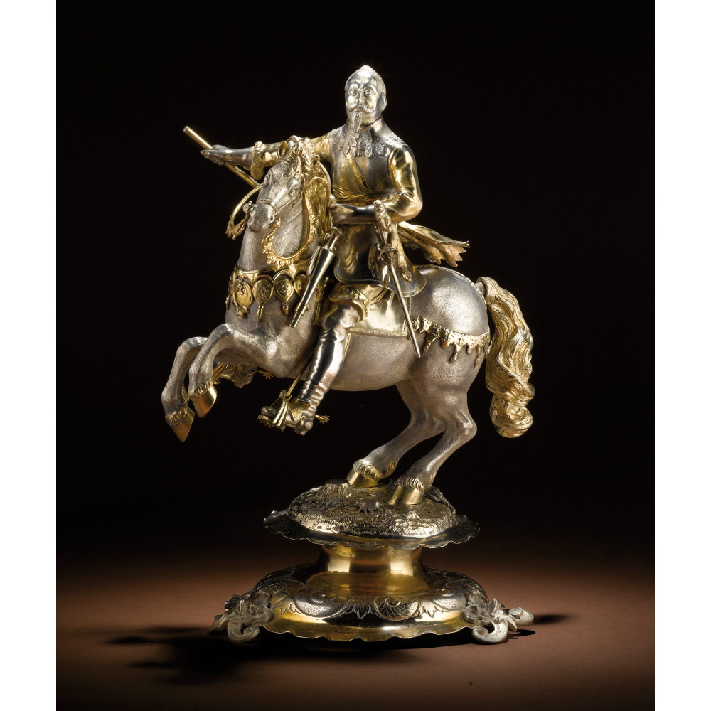 Drinking cup/centrepiece modelled as Gustavus Adolphus II King of Sweden, 1880, Germany