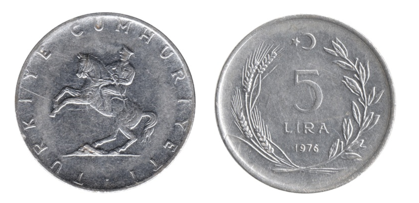 5 Lira large type showing Atatürk on horseback on obverse, minted in 1974-1979, Turkey