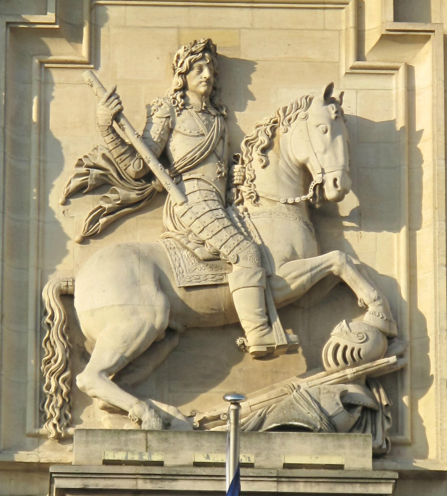 High relief of king Louis XIII on horseback, 1818, after the statue by Nicolas Jacques destroyed at the Revolution (1792)