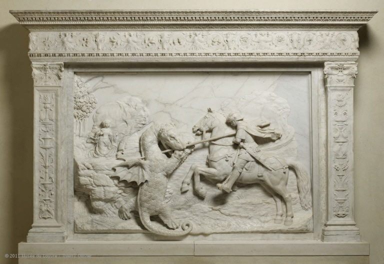 Relief showing Saint George fighting the dragon, 1509-10, Michel Colombe, Tours, France