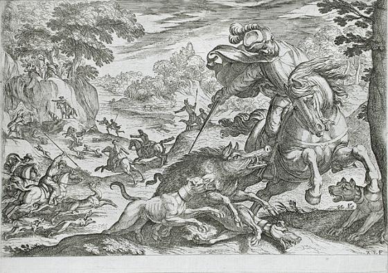 Boar Hunt, 1570-1600, Antonio Tempesta, Florence, Italy