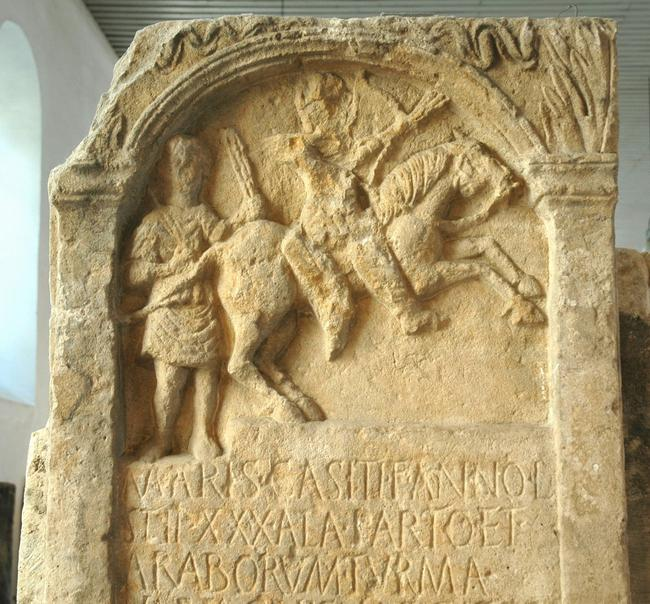 Roman tombstone of the mounted archer Maris, 31–70 AD, discovered in Mainz, Germany