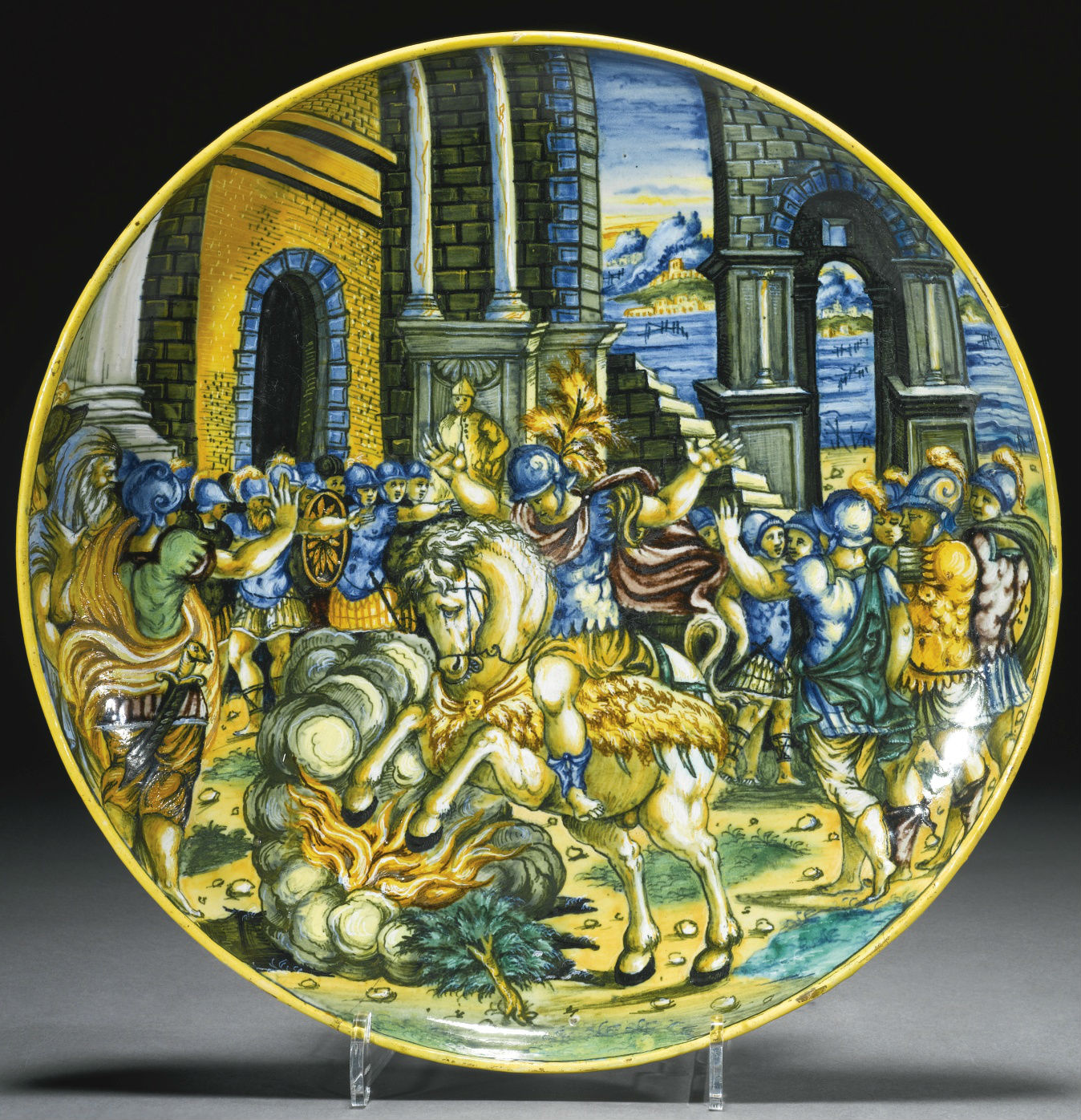 Dish depicting the sacrifice of Marcus Curtius, cr. 1550-60, workshop of Virgiliotto Calamelli, Faenza