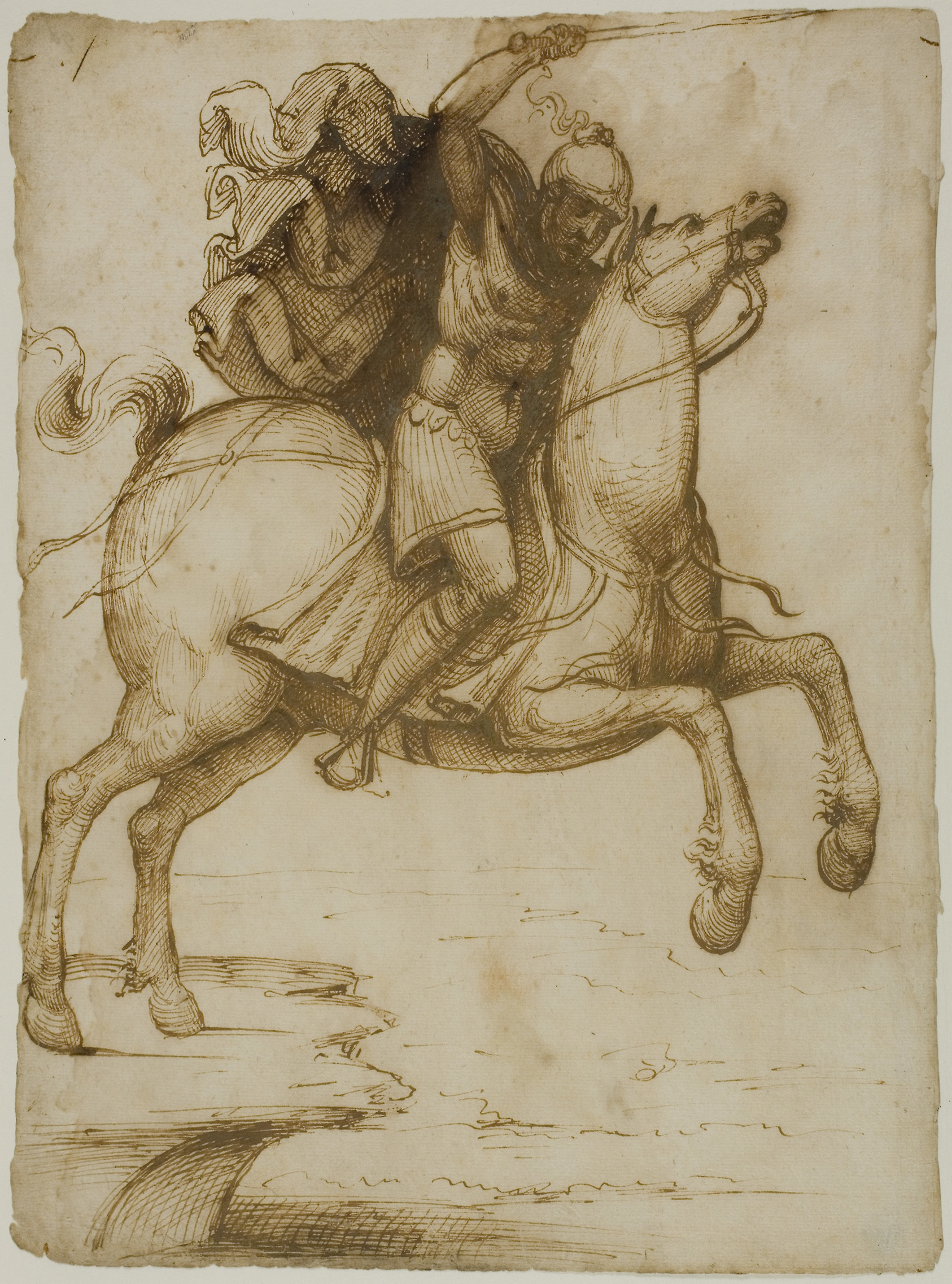 COMPARANDUM: Marcus Curtius Leaping into the Abyss, cr. 1530, Pseudo-Pacchia, Siena