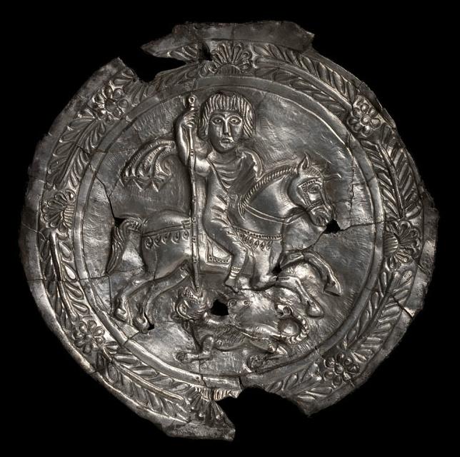 Silver Medallion representing Bellerophon killing a Chimera, 5th-7th century AD, European (Visigothic?)
