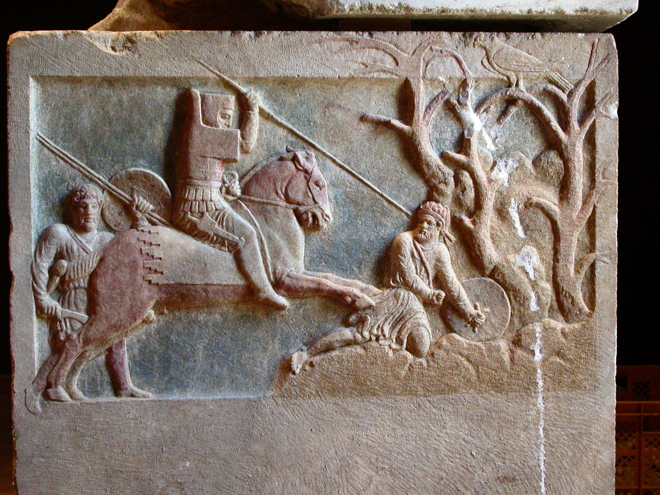 The Çan Sarcophagus, detail of Persian horseman spearing fallen footsoldier, 400-375 BC, village of Altıkulaç, near Çan, modern-day Turkey