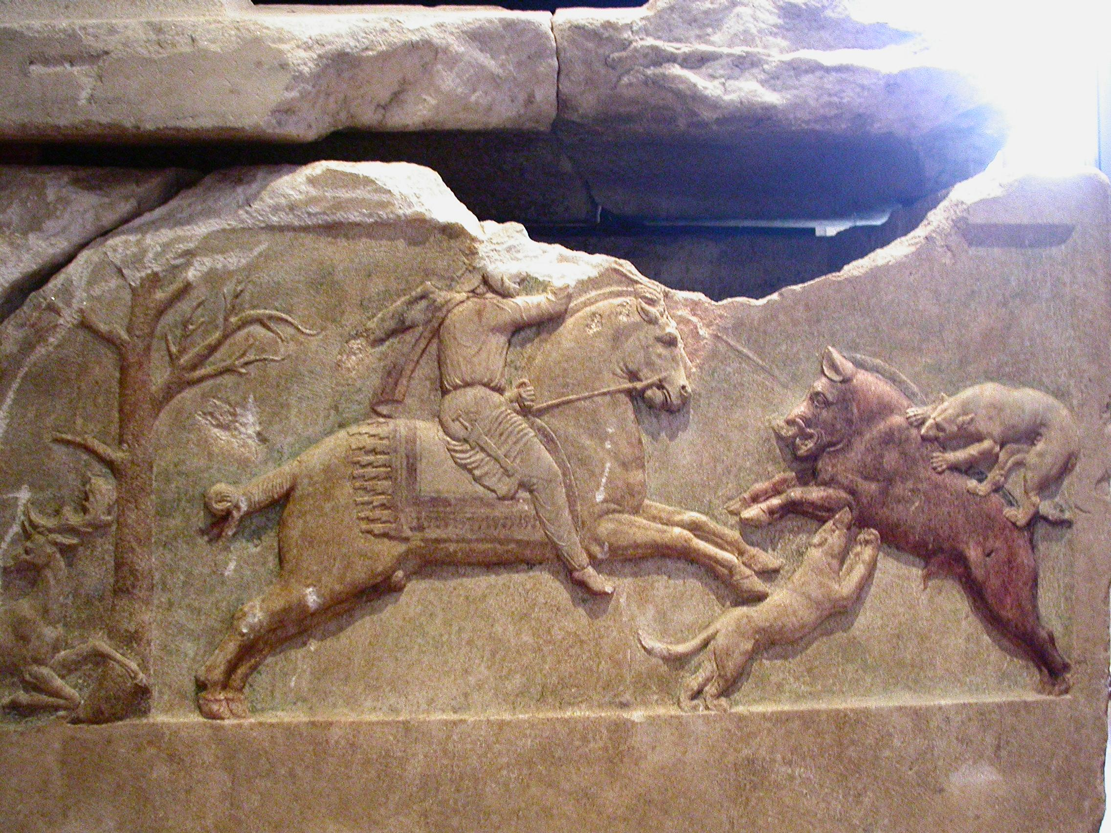 The Çan Sarcophagus, detail of hunting scene, 400-375 BC, village of Altıkulaç, near Çan, modern-day Turkey