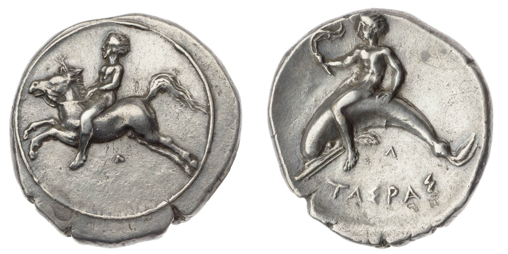 Nommos with horse and rider,cr. 390 BC, Taras, Apulia