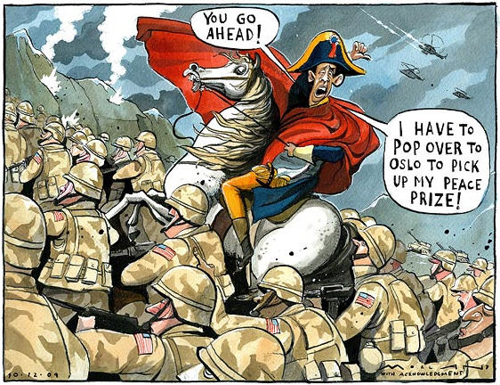 'I have to pop over to Oslo to pick up my peace prize', December 2009, Morten Morland for 'The Times', Great Britain