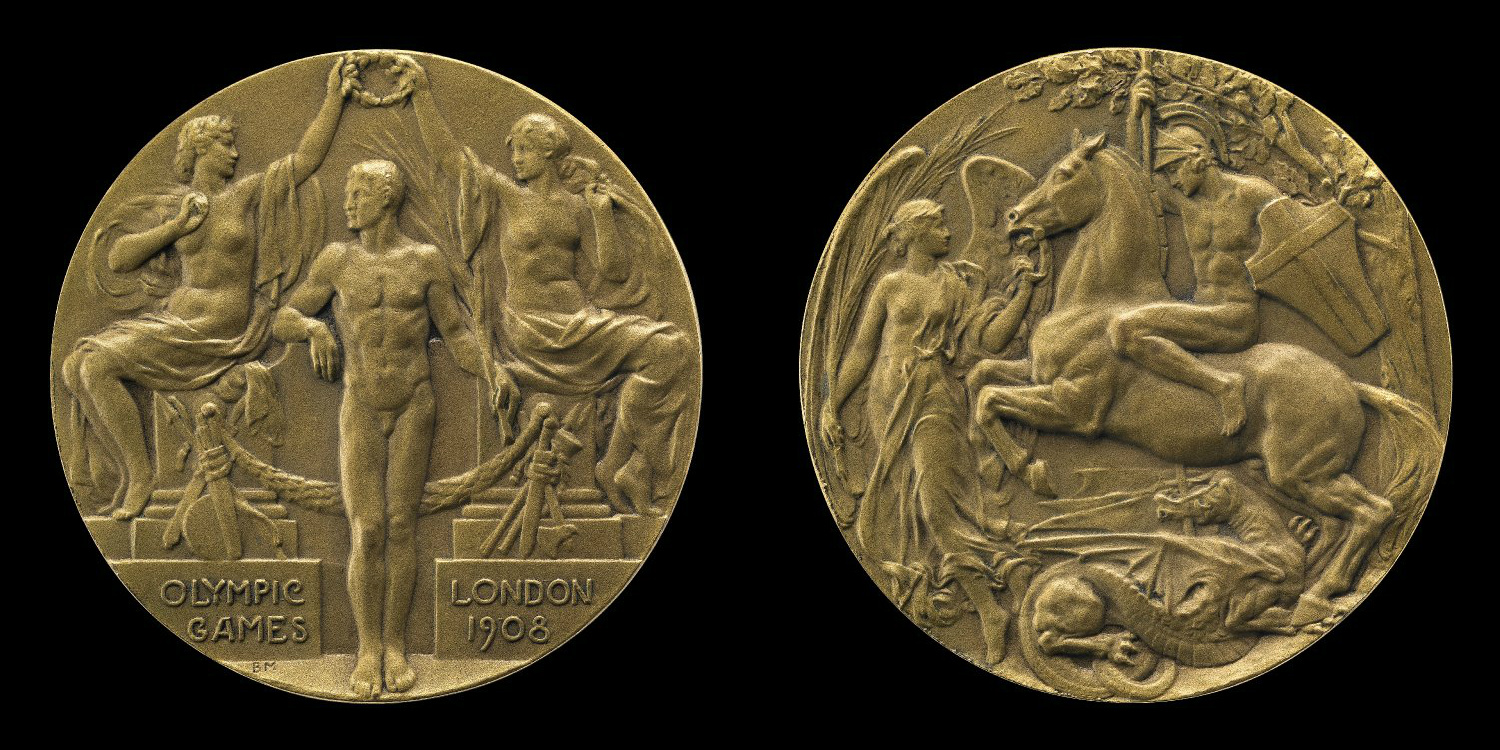 Olympic Games medal showing three classical figures and St George speaking the dragon, 1908, Bertram Mackennal, British Isles