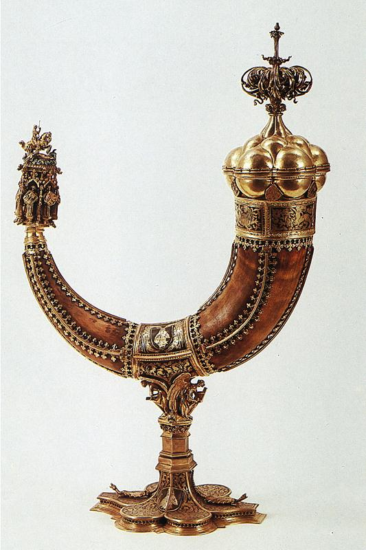 Drinking horn belonging to Sigismund, Holy Roman Emperor (detail), cr. 1400, possibly a gift from the Order of Teutonic Knights
