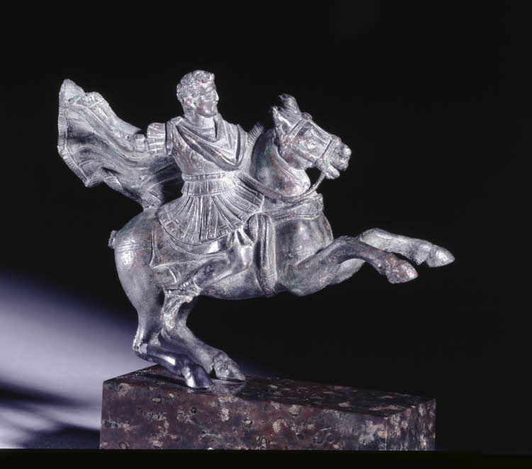Bronze fitting from horse's breast-piece in a form of Commodus (?) on horseback, ?, Rome