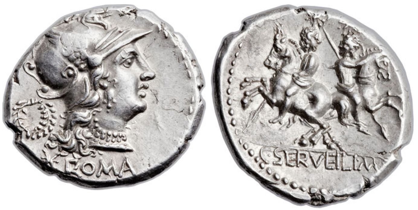 Denarius showing Dioscuri brothers on horseback on reverse, minted in 136 BC, Roman Republic