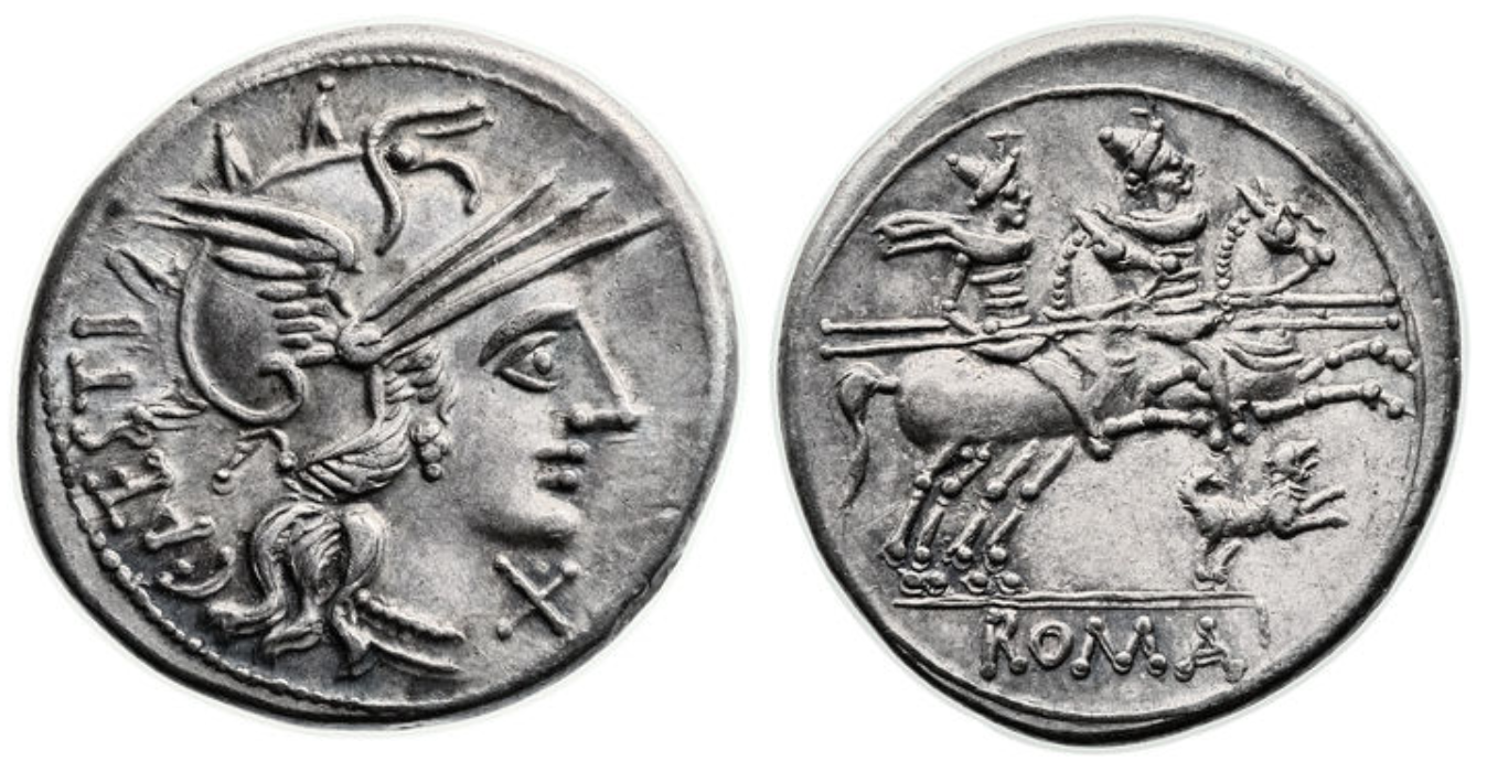 Denarius showing Dioscuri brothers on horseback and a dog on reverse, minted in 146 BC, Roman Republic