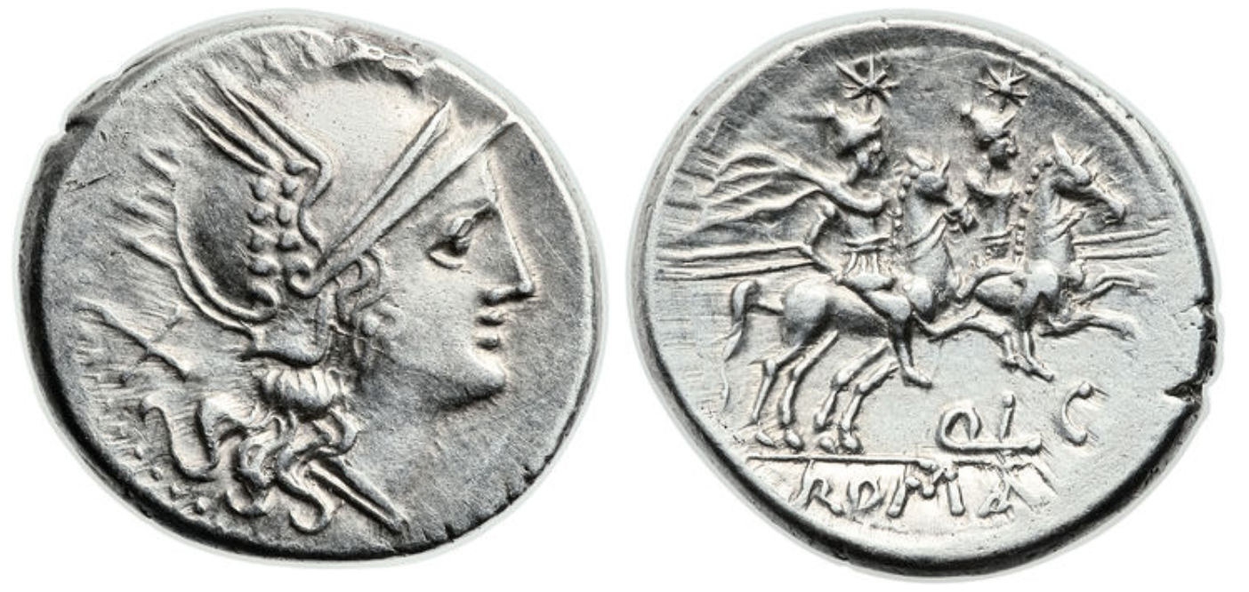 Denarius showing Dioscuri brothers on horseback on reverse, minted in 206 - 200 BC, Roman Republic