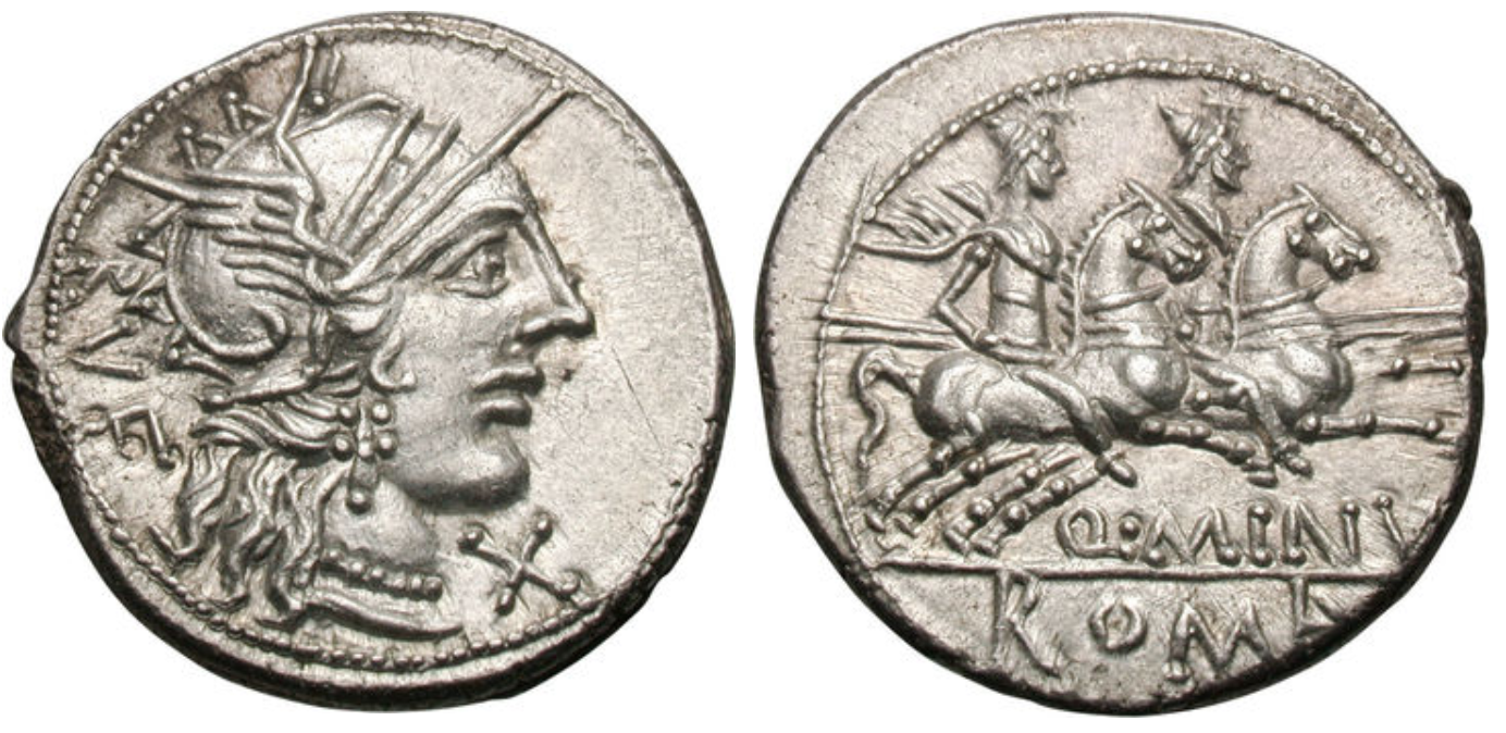 Denarius showing Dioscuri brothers on horseback on reverse, minted in 122 BC, Roman Republic