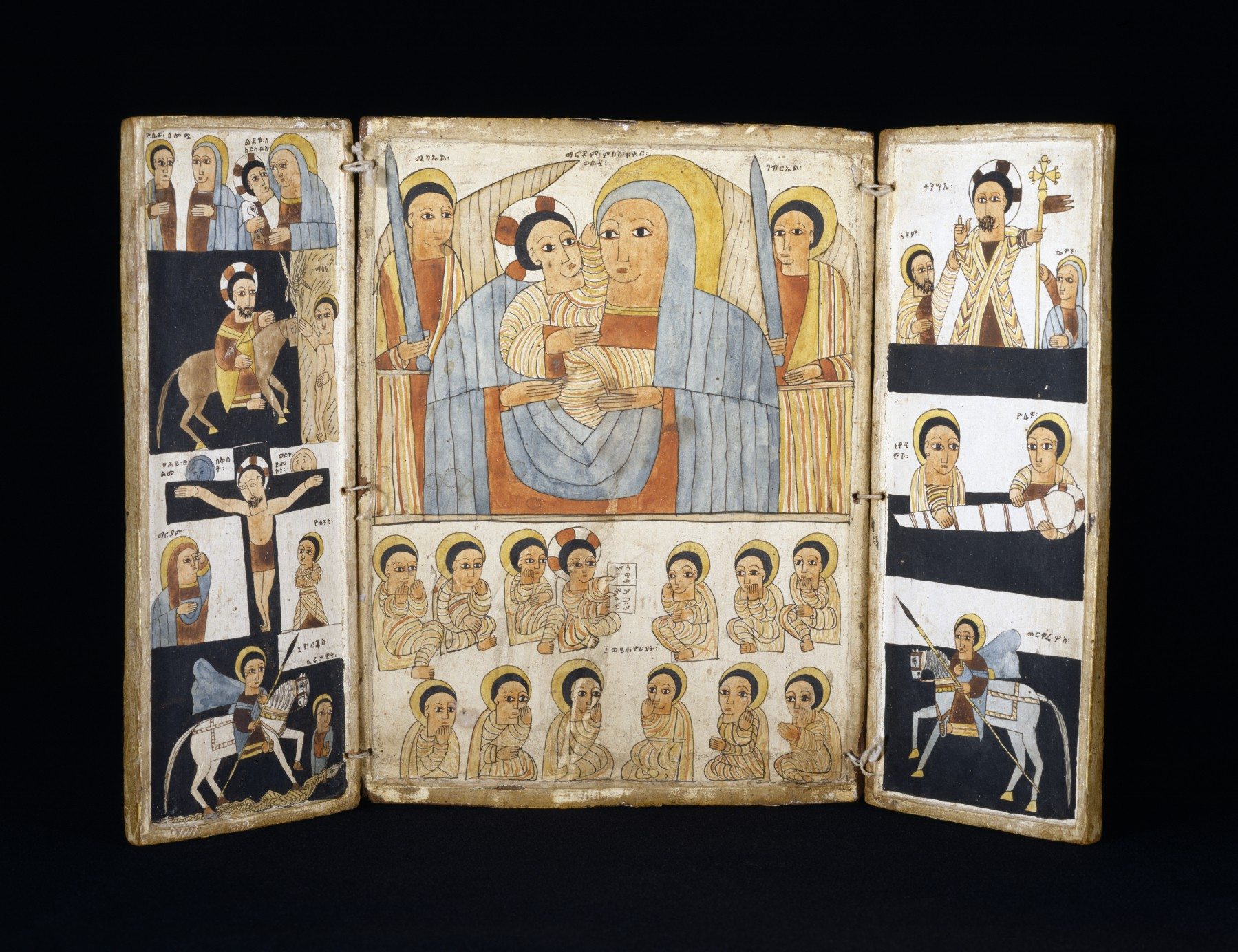Triptych with Mary and Her Son, Archangels, Scenes from Life of Christ and Saints, early 16th century, Ethiopia