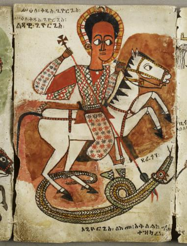 Saint George from the ensemble of 44 leaves featuring Ethiopian saints and scenes from the Hebrew Scriptures and New Testament, painting on parchment,late 17th century