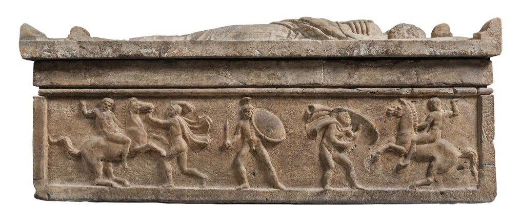 Sarcophagus and lid with husband and wife with two pairs of horsemen and foot soldiers in combat, 350–300 BC, Italian/Etruscan