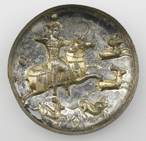 Bowl with the depiction of a king hunting ibices, 4th-5th century