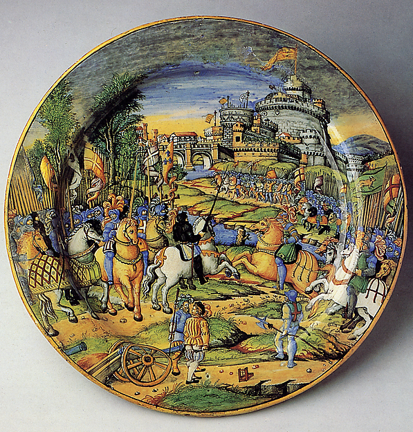 Dish depicting an episode from the Sack of Rome, 1527: the assault on the Borgo (?), cr. 1540, Workshop of Guido Durantino (Guido Fontana), Urbino