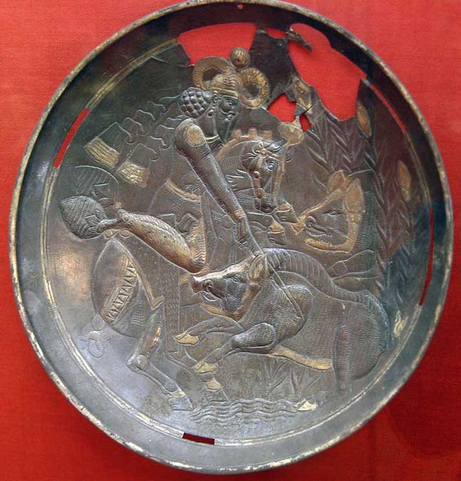 Dish depicting Varakhran hunting, cr. 390-420