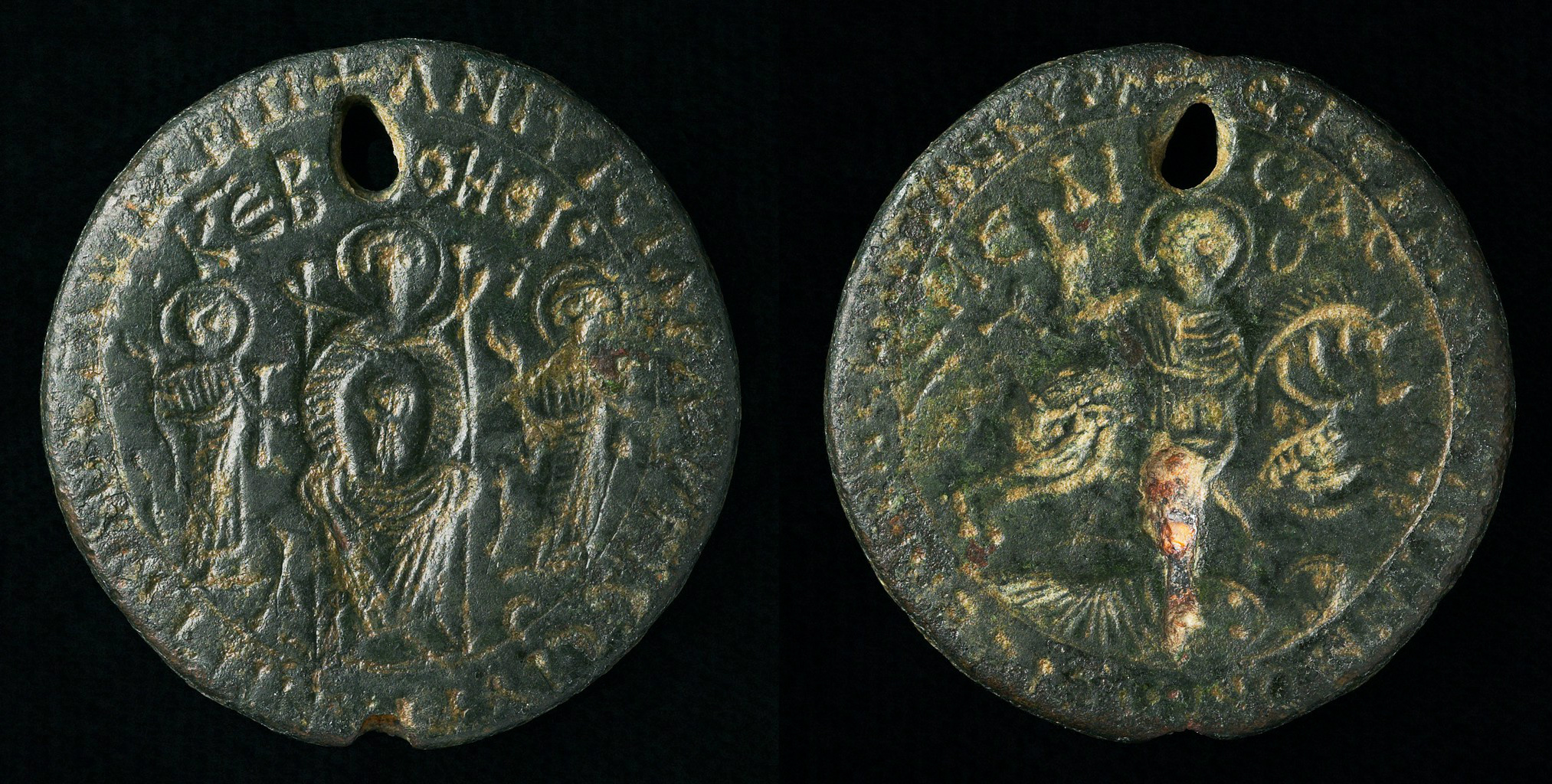 Amulet with Holy Rider (St. Sisinios) and Virgin Enthroned, 5th-7th century, Byzantine
