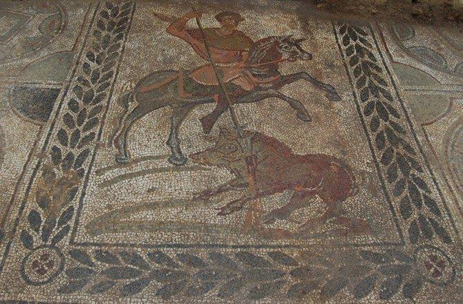 Mosaic with a boar hunting scene,5th century, Villa de Capraia e Limite, Tuscany, Italy