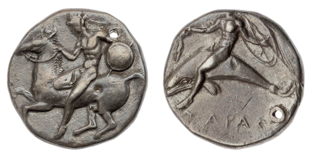Stater  with a rider vaulting from a horse,420–380 BC, Taras, Apulia