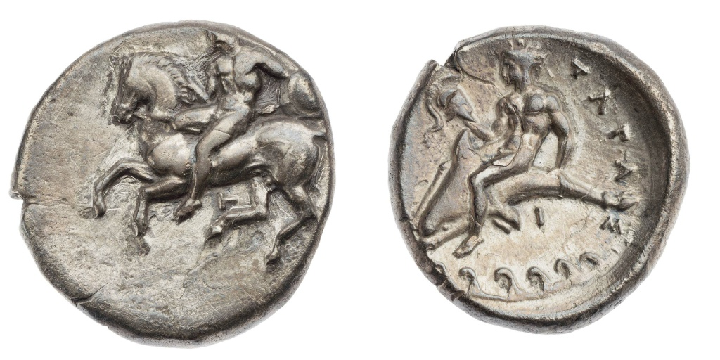 Stater with a rider vaulting from a horse,380–344 BC, Taras, Apulia