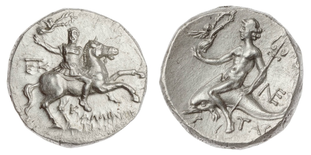 Stater with a warrior on horseback crowned by Victory, struck under Kallikrates,cr. 240–228 BC, Taras, Apulia