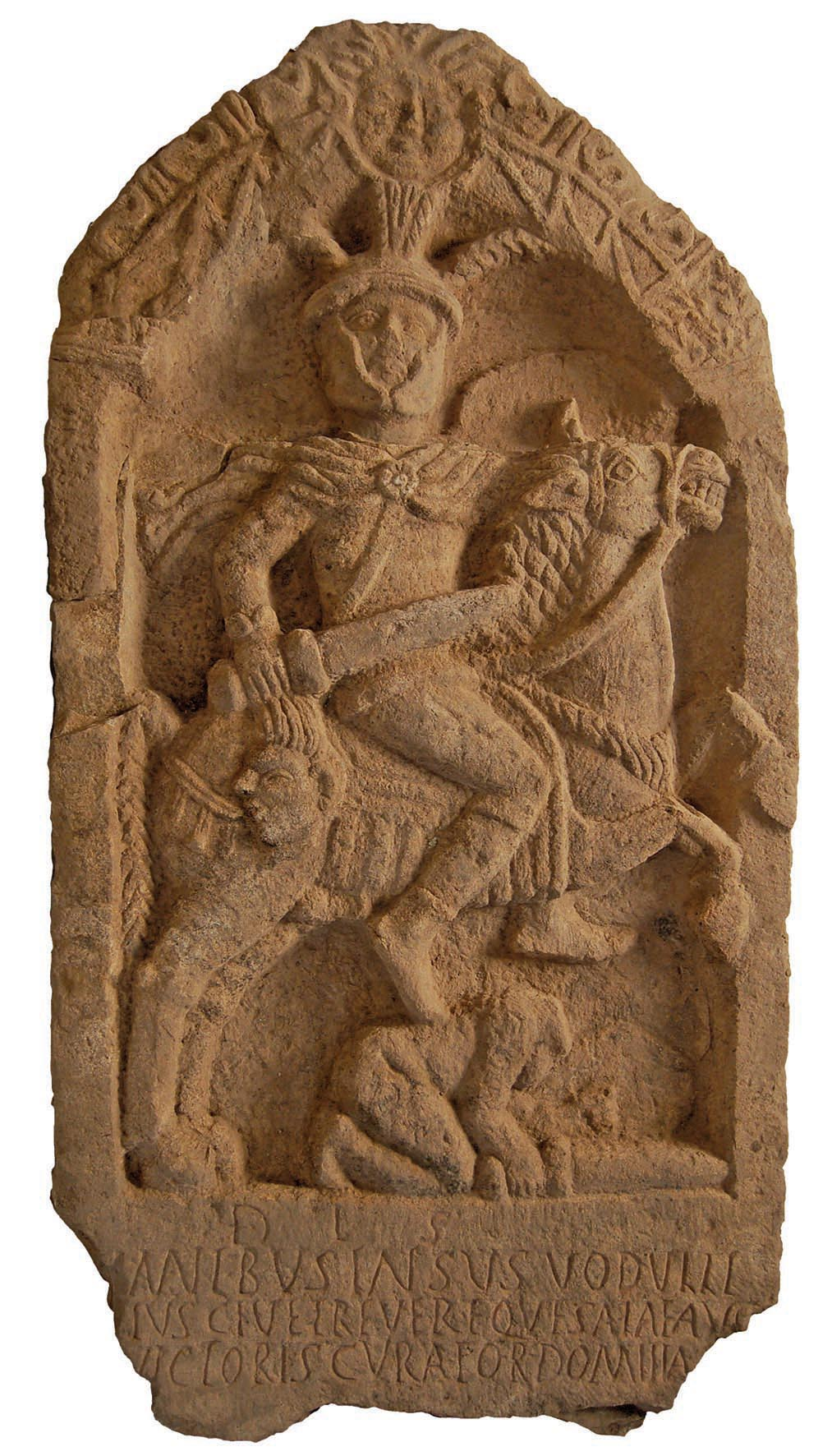Roman gravestone showing a soldier Insus holding the severed head of a barbarian,cr. 100 AD, discovered in Lancashire, UK