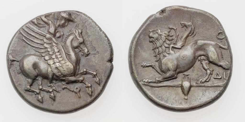 Trihemidrachm of Corinth with Bellerophon riding Pegasus, 338–280 BC, Corinth, Greek culture