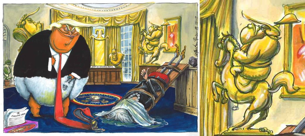 May-Trump Meeting, January 2017, Martin Rowson for the Guardian
