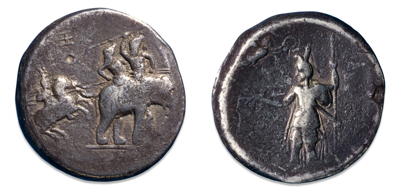 Silver decadrachm of Alexander the Great showing him (?) attacking enemies riding an elephant, cr. 324 BC