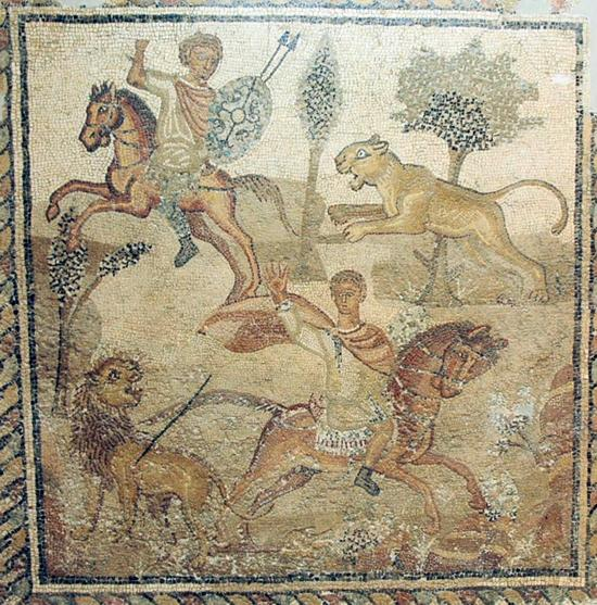Mosaic with a hunting scene,4th century, Villa of the Nile, Lepcis Magna, Libya