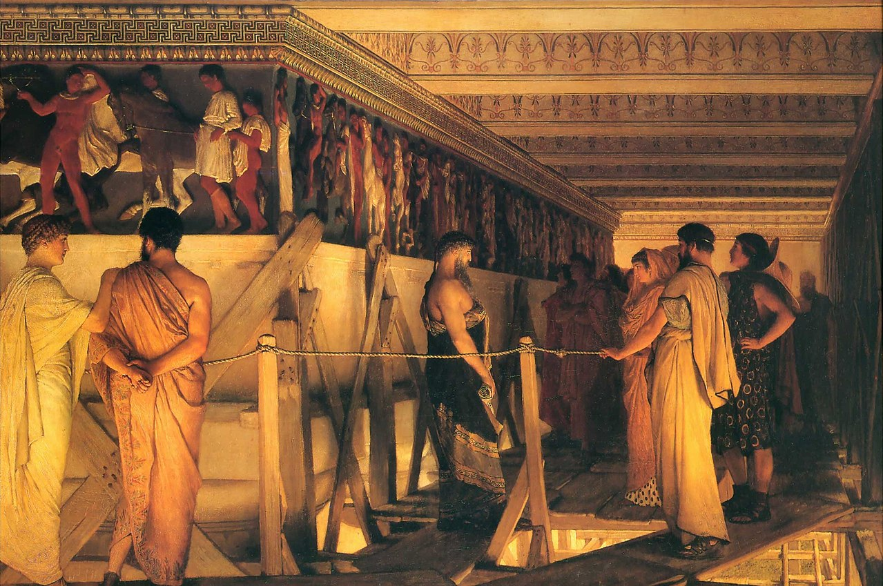 Phidias Showing the Frieze of the Parthenon to his Friends, 1868, Lawrence Alma-Tadema, Great Britain