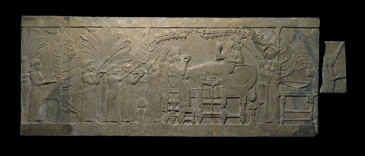 The Banquet of Ashurbanipal, 645 BC - 635 BC, Nineveh, Assyria, now Mosul, Iraq