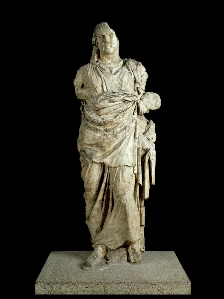 Marble statue from the Mausoleum of Halikarnassos, possibly Mausolus, cr. 350 BC, Halicarnassus, Caria, now Bodrum, Turkey