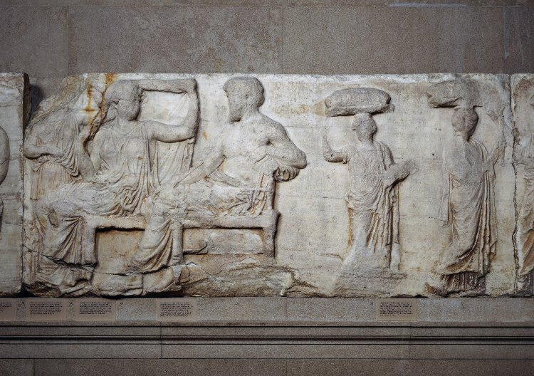 Block V showing Zeus And Hera, East Parthenon frieze, 438 - 432 BC, Designed by Pheidias, Athens, Greece