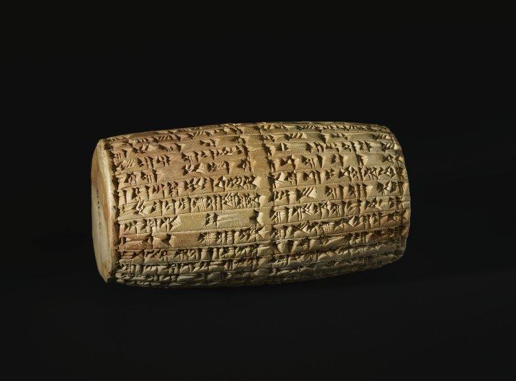 The Nabonidus Cylinder, 556-539BC, Ur, Mesopotamia (now Tell el-Muqayyar, Iraq)