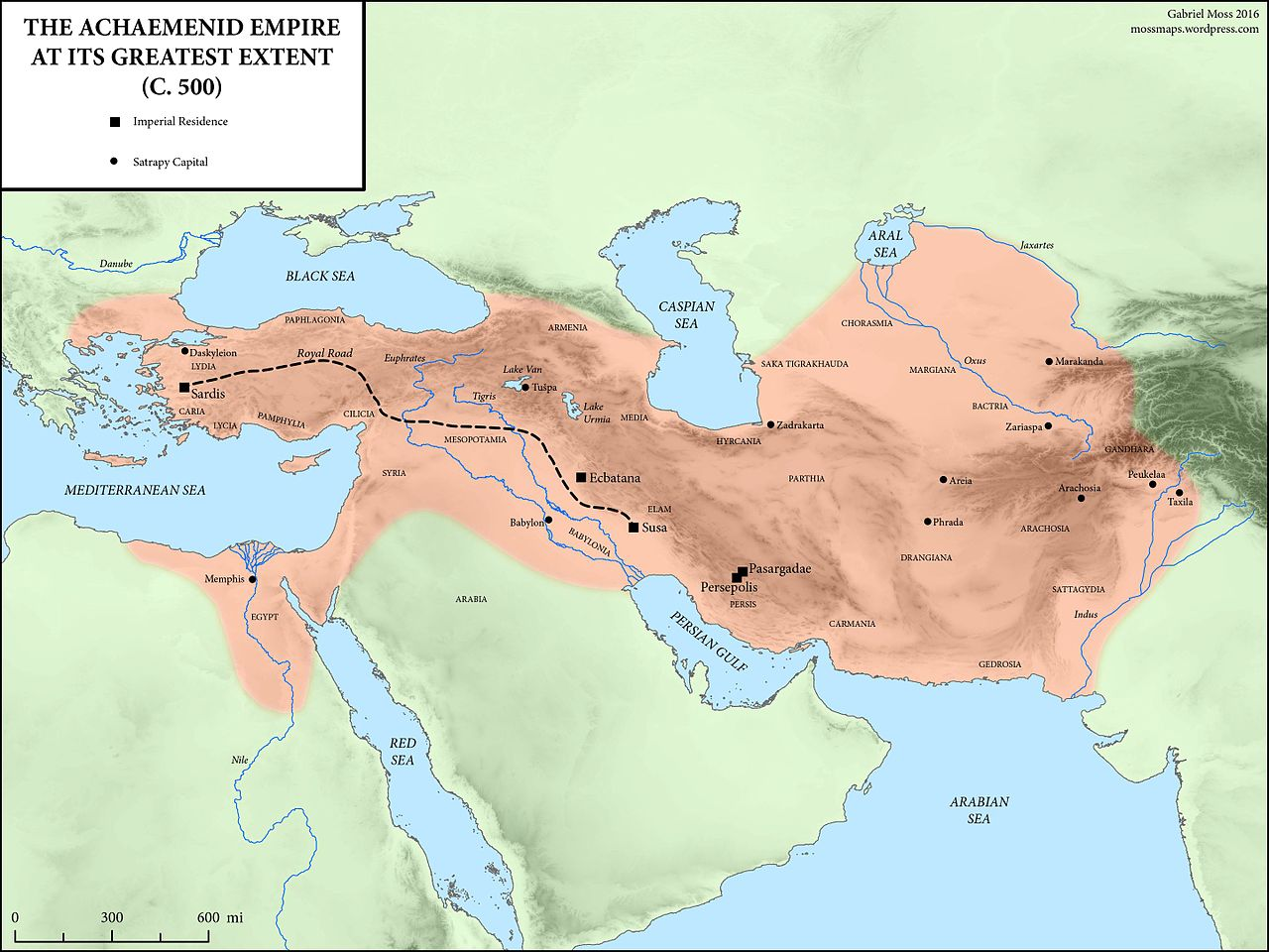 A map of the Achaemenid Persian empire at its greatest extent, during the reign of Darius I around 500 BC