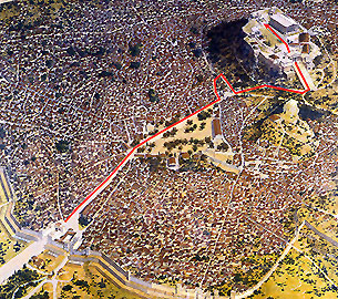 Map of Panathenaic Procession, Ancient Athens