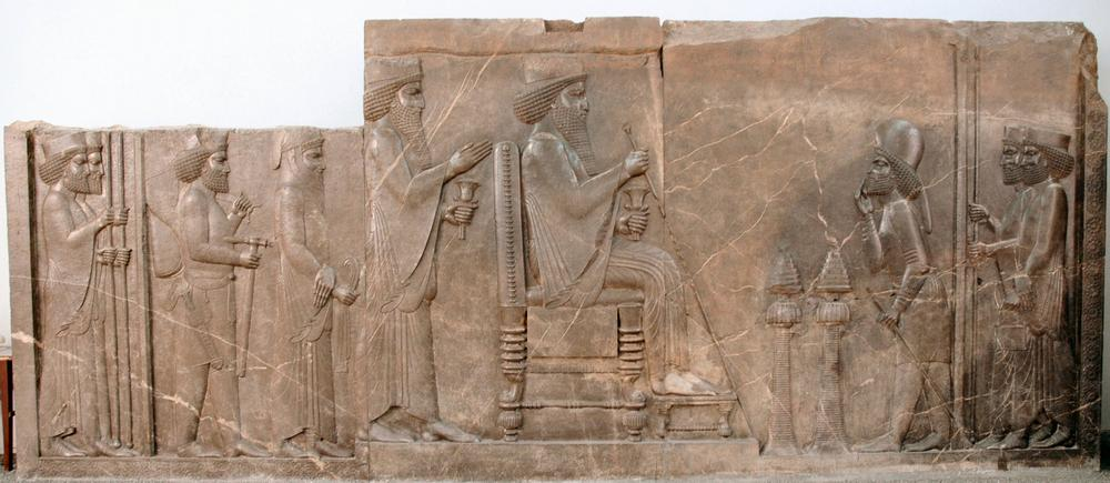 Central Relief of the North Stairs showing Darius the Great, 520 - 486 BC, Apadana Staircase, Persepolis, Iran