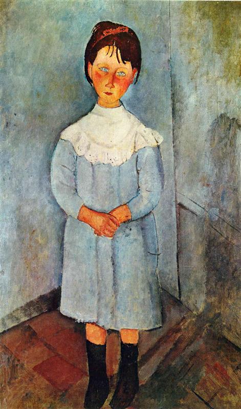 Little girl in blue,Modigliani, 1918